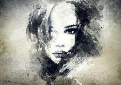 Fototapet abstrakt kvinna porträtt