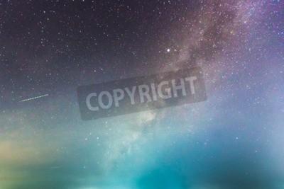 Fototapet abstrakt lång exponering av Vintergatan på natthimlen bakgrund