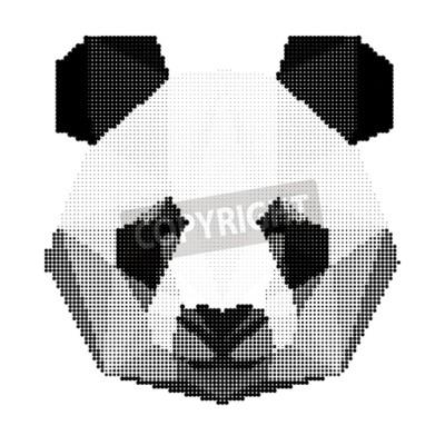 Fototapet abstrakt monokrom pandabjörn stående isolerad på vit bakgrund för användning i design för kort, inbjudan, affisch, banderoll, plakat, skylt täcka