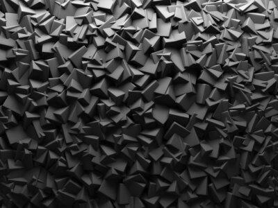 Fototapet Abstrakt mörk Kaotiskt Cube former Bakgrund.