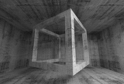 Fototapet Abstrakt mörkgrå betong rum interiör. 3d flygande kub