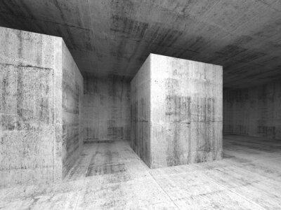 Fototapet Abstrakt mörkgrå tom betong rum, 3D interiör