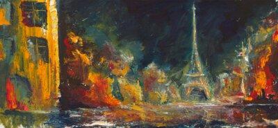 Fototapet Abstrakt natten paris. Olje- gamla staden på canvas.Modern