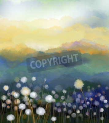Fototapet Abstrakt oljemålning vita blommor fält i mjuka färger. Oljemålningar vit maskros blomma på ängarna. Spring blommig säsongsbetonad med blå - grön kulle i bakgrunden.