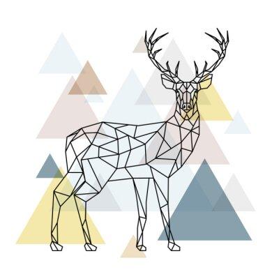 Fototapet Abstrakt polygonal rådjur. Geometrisk hipster illustration. Ren med sidovy. Skandinavisk stil.