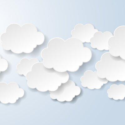 Fototapet Abstrakt pratbubblor i form av moln som används i ett socialt