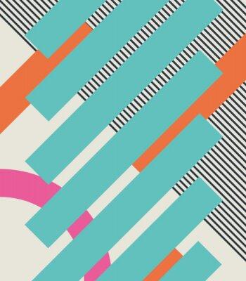 Fototapet Abstrakt retro 80 bakgrund med geometriska former och mönster. Materialdesign.