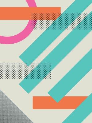 Fototapet Abstrakt retro 80 bakgrund med geometriska former och mönster. Materialdesign tapet.
