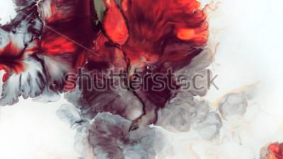 Fototapet Abstrakt röd bakgrund. Macro Celler. Röd blomma. Akrylfärger. Marmor konsistens. Samtida const.