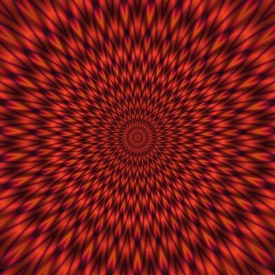 Fototapet Abstrakt röd illustration av hypnotiska ljusa tunnel