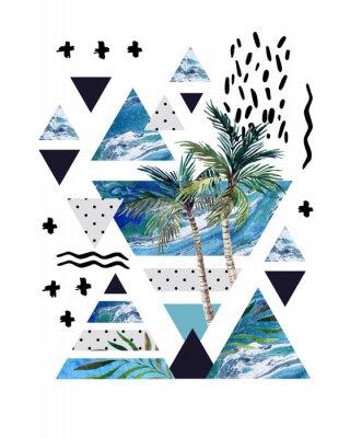 Fototapet Abstrakt sommar geometrisk affischdesign.