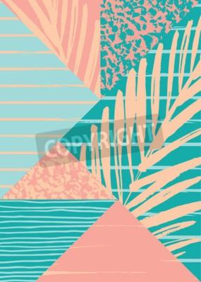 Fototapet Abstrakt sommar sammansättning med handritad vintage konsistens och geometriska element. Vektor mall för affisch, omslag, kortdesign och andra användare.