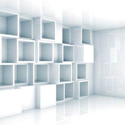 Fototapet Abstrakt tom 3d inre, vita tomma kub hyllor på väggen