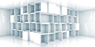 Fototapet Abstrakt tom 3d rum interiör med skåp i hörnet