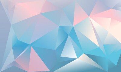 Fototapet Abstrakt trekantbakgrund. Ljusblå, rosa och vit färg.