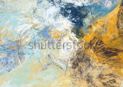 Fototapet Abstrakt vacker blå och gul mjuk färgbakgrund. Dynamisk målningsteknik. Modernt futuristiskt mönster. Fractalkonstverk för kreativ grafisk design