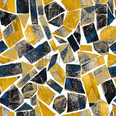 Fototapet Abstrakt vattenfärg sömlösa monster. Konstverk i geometrisk modern stil. Samtida. Glasmålning.
