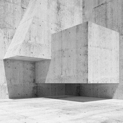 Fototapet Abstrakt vit betong inre fragment 3 d