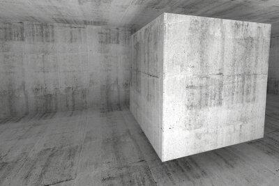 Fototapet Abstrakt vit betong rum 3d bakgrund med kub
