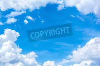 Fototapet abstrakt vit moln på den blå himlen