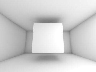 Fototapet Abstrakt vita rummet inredning med flygande kub
