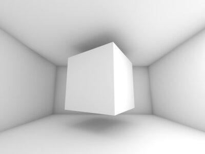 Fototapet Abstrakt vitt rum interiör, flygande kub