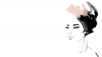 Fototapet African American illustration for fashion banner. Trendy woman model background. Afro hair style girl