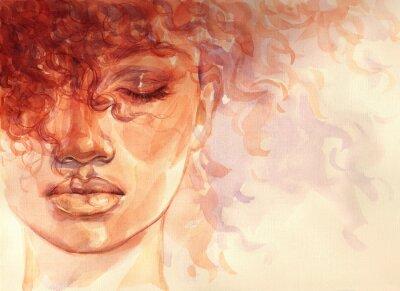 Fototapet african american woman. illustration. watercolor painting