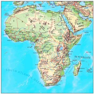 Fototapet Afrika fysiska kontinent karta