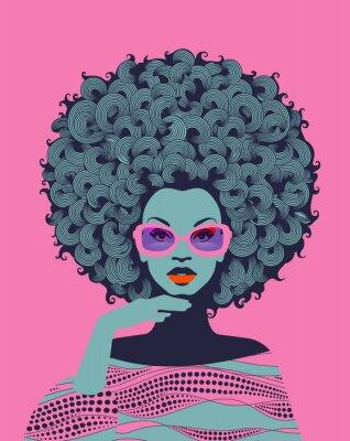 Fototapet Afro American woman art portrait with pink sunglasses. Mid century modern retro style. Eps10 vector