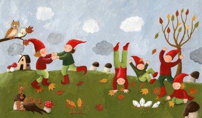 Fototapet Akryl illustration av den söta barn - dvärgar dansa i fa