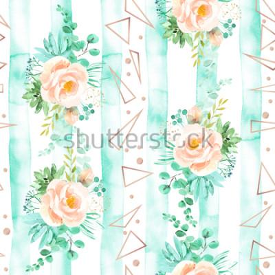 Fototapet Akvarell blommigt seamless pattern in soft pink mint colors. Geometrisk bakgrund med blommor buketter. Rosor, succulent, eucalyptuslov, rosguld, illustration
