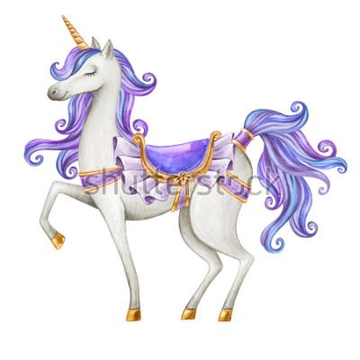 Fototapet akvarell enhörning illustration, saga varelse, lila blå lockigt hår, mytisk djur clip art, isolerad på vit bakgrund