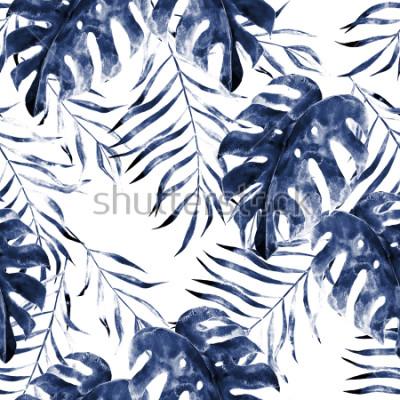 Fototapet Akvarell exotisk sömlös mönster, gröna tropiska löv, botanisk sommar illustration på vit bakgrund
