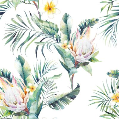 Fototapet Akvarell exotisk sömlös mönster. Repeterande konsistens med växter, tropisk bukett: palmträd, protea, bananblad, frangipani-blomma. Sommar tapet design