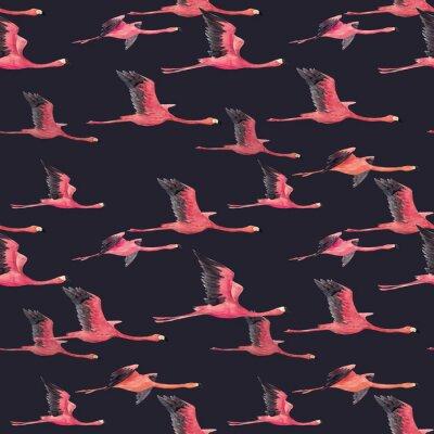Fototapet Akvarell flamingo mönster