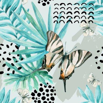 Fototapet Akvarell grafisk illustration: exotisk fjäril, tropiska löv, klotterelement på grunge bakgrund.