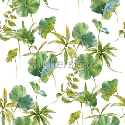Fototapet Akvarell illustration av löv, sömlöst mönster på vit bakgrund