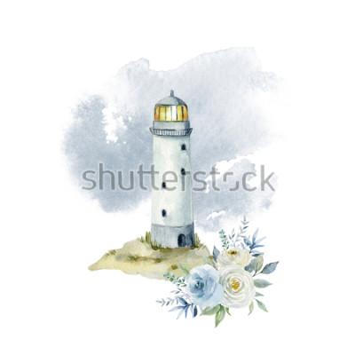 Fototapet Akvarell illustration med in, moln och en bukett blommor