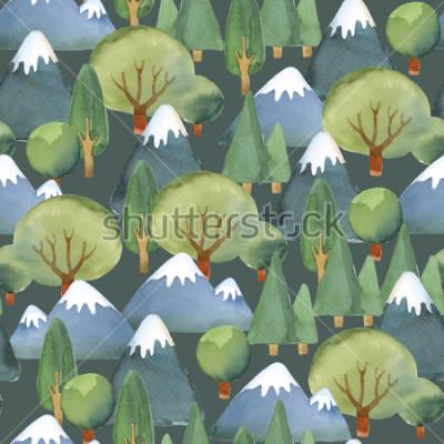 Fototapet Akvarell illustration. Seamless mönster av platta träd och blå berg på mörk bakgrund