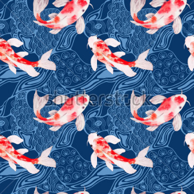 Fototapet Akvarell koi fisk sömlös mönster konsistens med vågor på bakgrund