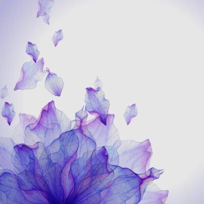 Fototapet Akvarell kort med lila blomma kronblad