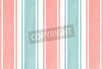 Fototapet Akvarell ljusrosa och blå randig bakgrund. Akvarell geometrisk mönster.