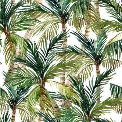 Fototapet Akvarell palm seamless