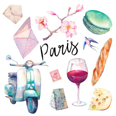 Fototapet Akvarell Paris uppsättning. Handdragen element av fransk kultur isolerad på vit bakgrund: vintage scooter, macaron, ost, rött vinglas, magnolia brach, baguette.
