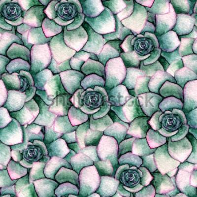 Fototapet Akvarell sömlös botanisk mönster med succulenter