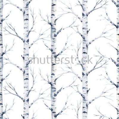 Fototapet Akvarell sömlös mönster björkträd. skog