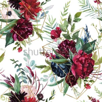 Fototapet Akvarell sömlös mönster. Blommig geometrisk illustration - Burgundblommor bukett med guld geometriska former på vit bakgrund. Bröllop stationära, hälsningar, bakgrundsbilder, mode, bakgrund.