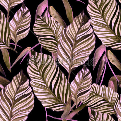 Fototapet Akvarell sömlös mönster med löv. Utgående konsistenser.