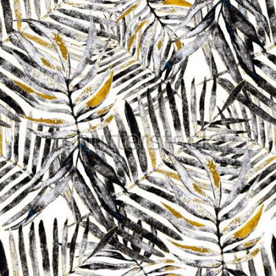 Fototapet Akvarell sömlös mönster med tropiska löv: palmer, monstera, passionsfrukt. Vackert allovertryck med handgjorda exotiska växter. Badkläder botanisk design.